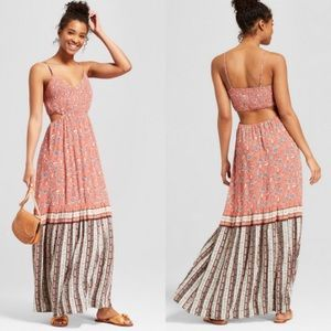 Orange floral cut out maxi dress